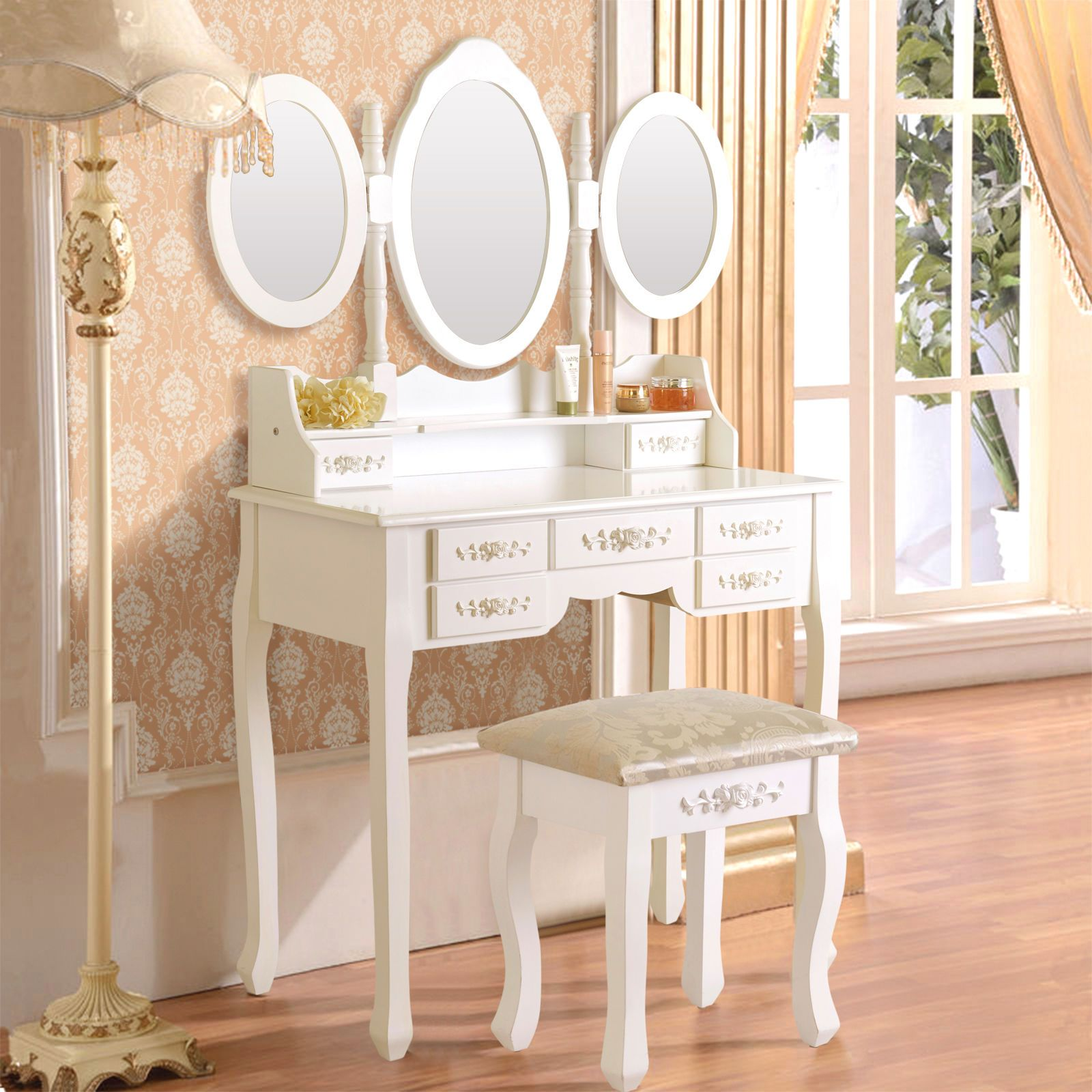 White vanity makeup dressing table set wstool drawerufolding