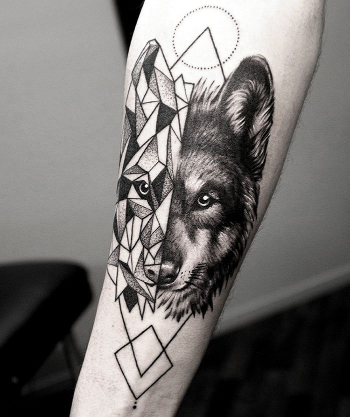 wolf geometrical fusion tattoo by shirmaineanne soular tattoo christchurch new zealand