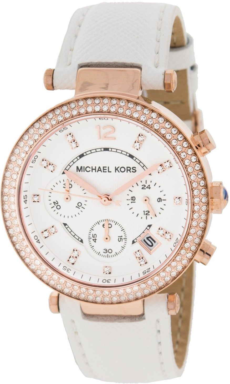 ad3307ee3 Michael #Kors Parker Chronograph Rose Gold-tone White Leather Ladies #Watch  MK2281
