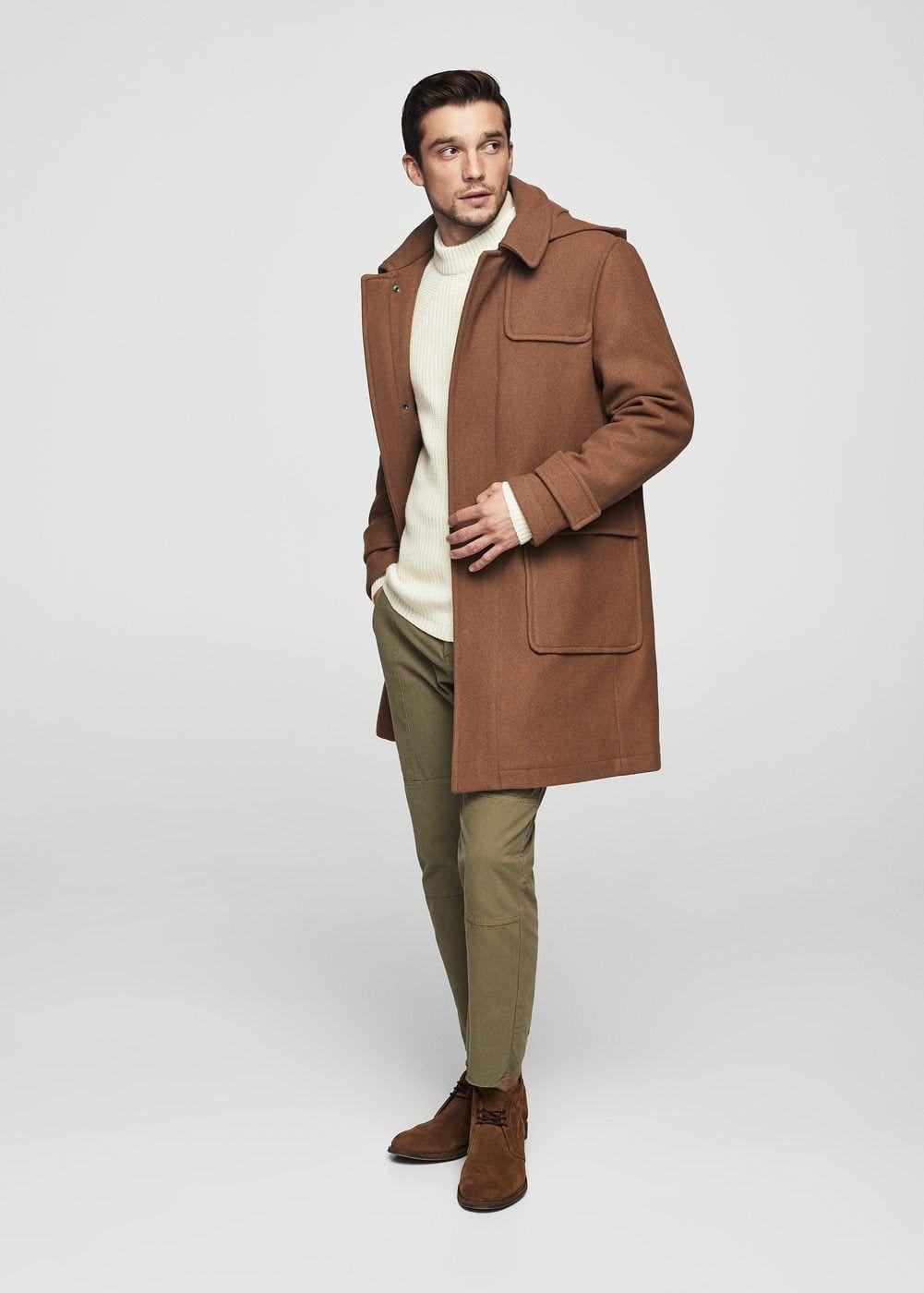 39ef188097549 Yün karışımlı kapüşonlu kaban - Palto - Erkek   Men Fashion   Duffle ...