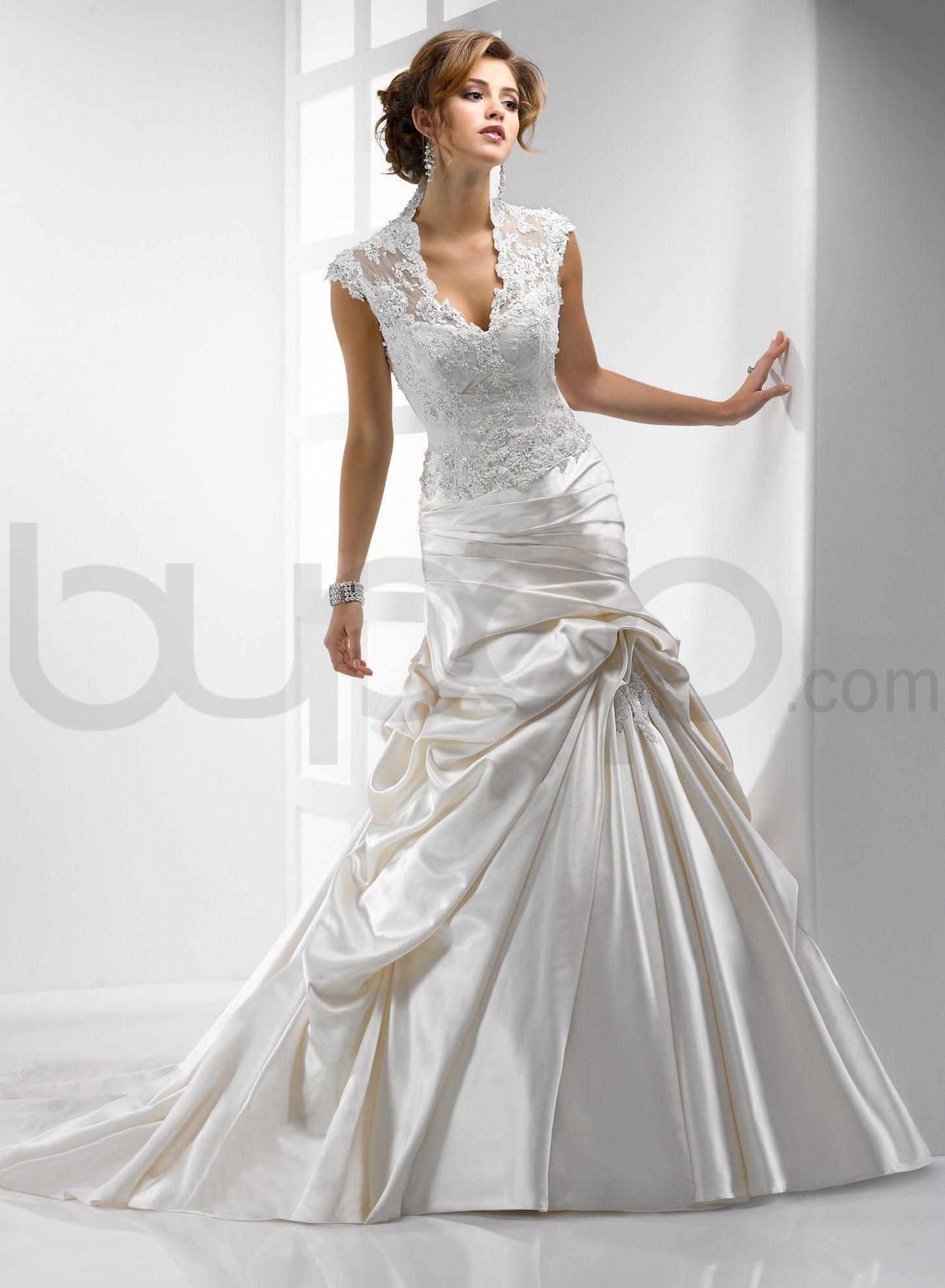 Soft Shimmer Satin A-line High-collar Deep V-neck Neckline Wedding Dress - Bupop.com