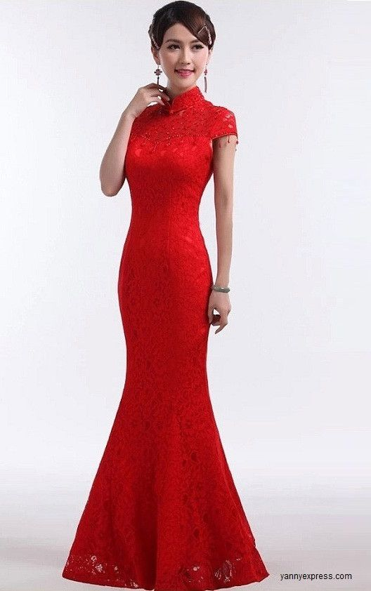 Chinese Wedding Dress Fishtail Bridal Cheongsam Lace Ball Gown ...