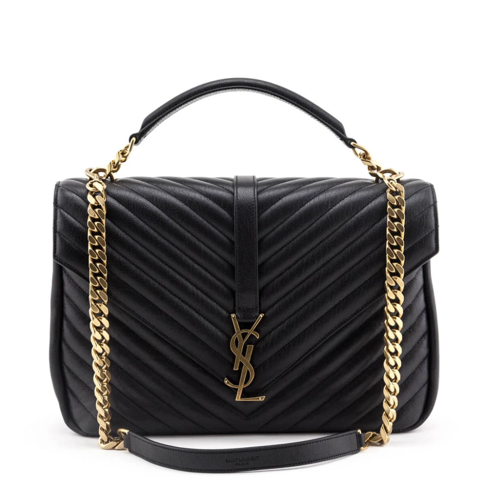 Saint Laurent Black Chevron Matelasse Sheepskin La