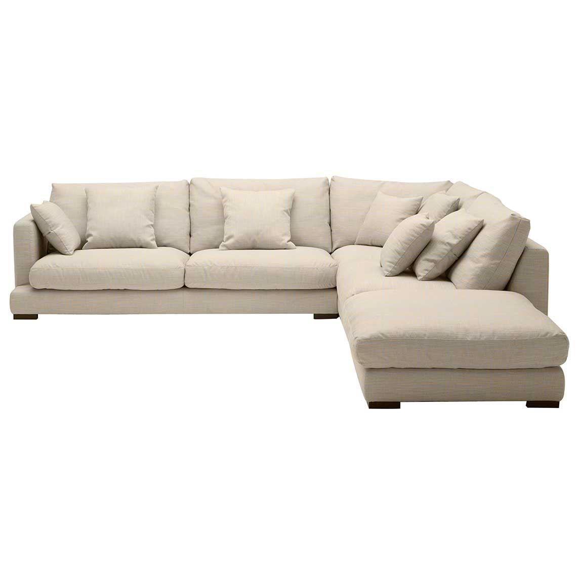 Hamilton 5 Seat Fabric Corner Modular Sofa And Ottoman Natural in ...