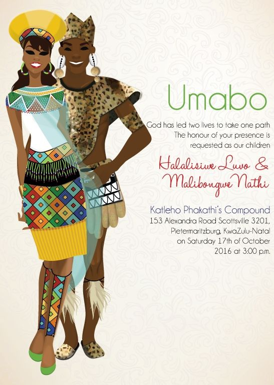 South African Zulu Traditional wedding invitation Card ...