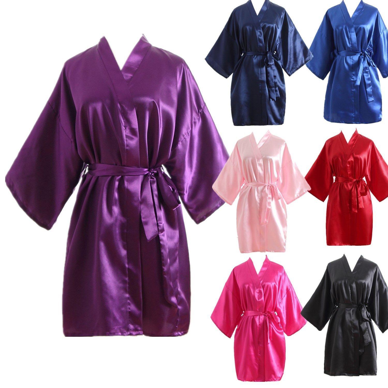 0c3188c083 Women Robe Silk Satin Robes Wedding Bridesmaid Bride Gown Kimono Solid Robes  Hot
