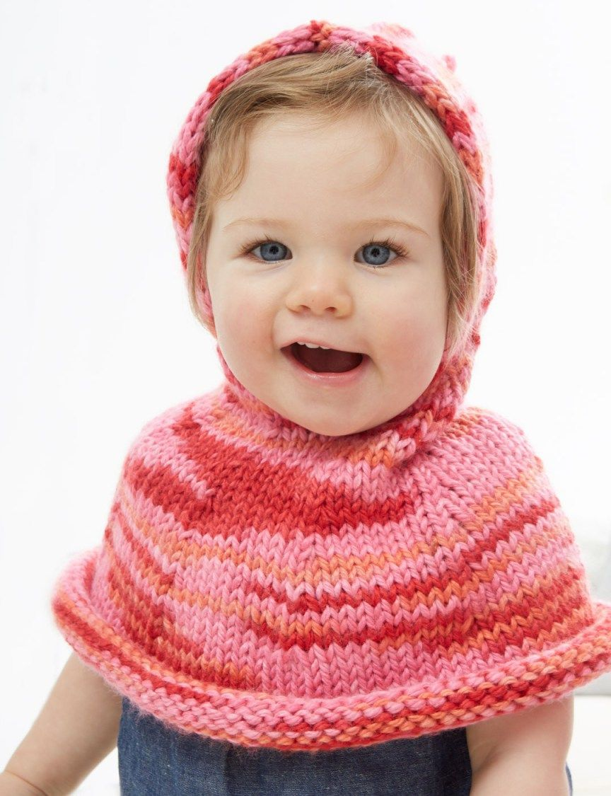 Free knitting pattern for poncho a go go hooded baby poncho knit free knitting pattern for poncho a go go hooded baby poncho this hooded cape from bernat is knit in multi color chunky yarn bankloansurffo Choice Image