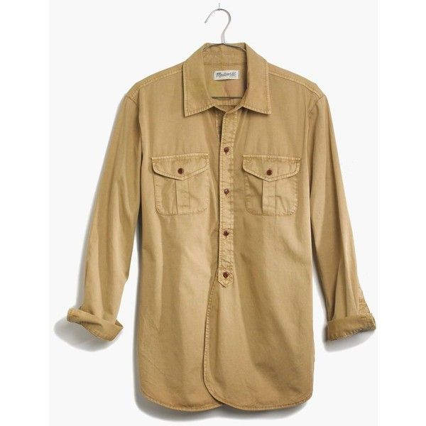 MADEWELL Cargo Workshirt ($80) ❤ liked on Polyvore featuring tops, shirts, honey brown, work shirts, madewell, brown tops, low top and shirt tops