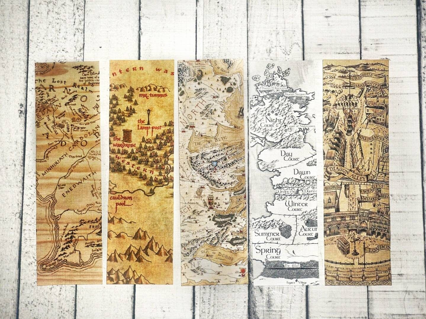 Mythical Maps Bookmark Collection A Court Of Thorns And Roses