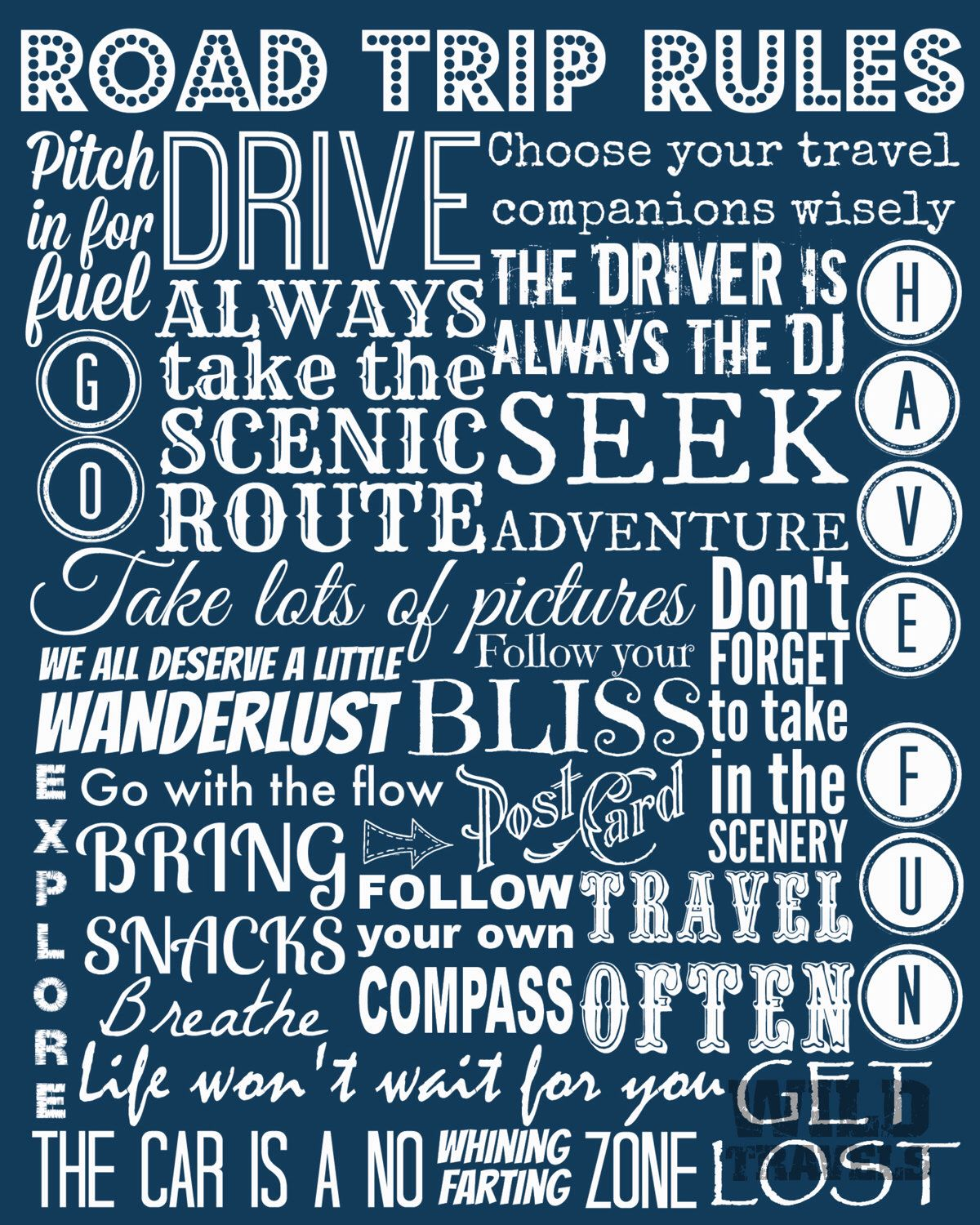 Road Trip Rules, Instant Download, Printable Art, Typography Print, Travel Poster, Wanderlust Art, Inspirational Quote,  Adventure Print,DIY door WildTravels op Etsy https://www.etsy.com/nl/listing/201137757/road-trip-rules-instant-download