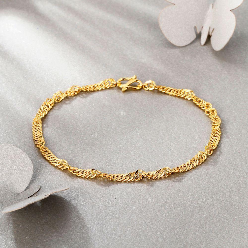 New pure k yellow gold bracelet womanus unique singapore link