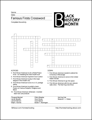 photo regarding Black History Crossword Puzzle Printable referred to as 6 Printable Pursuits for Black Historical past Thirty day period Upcoming