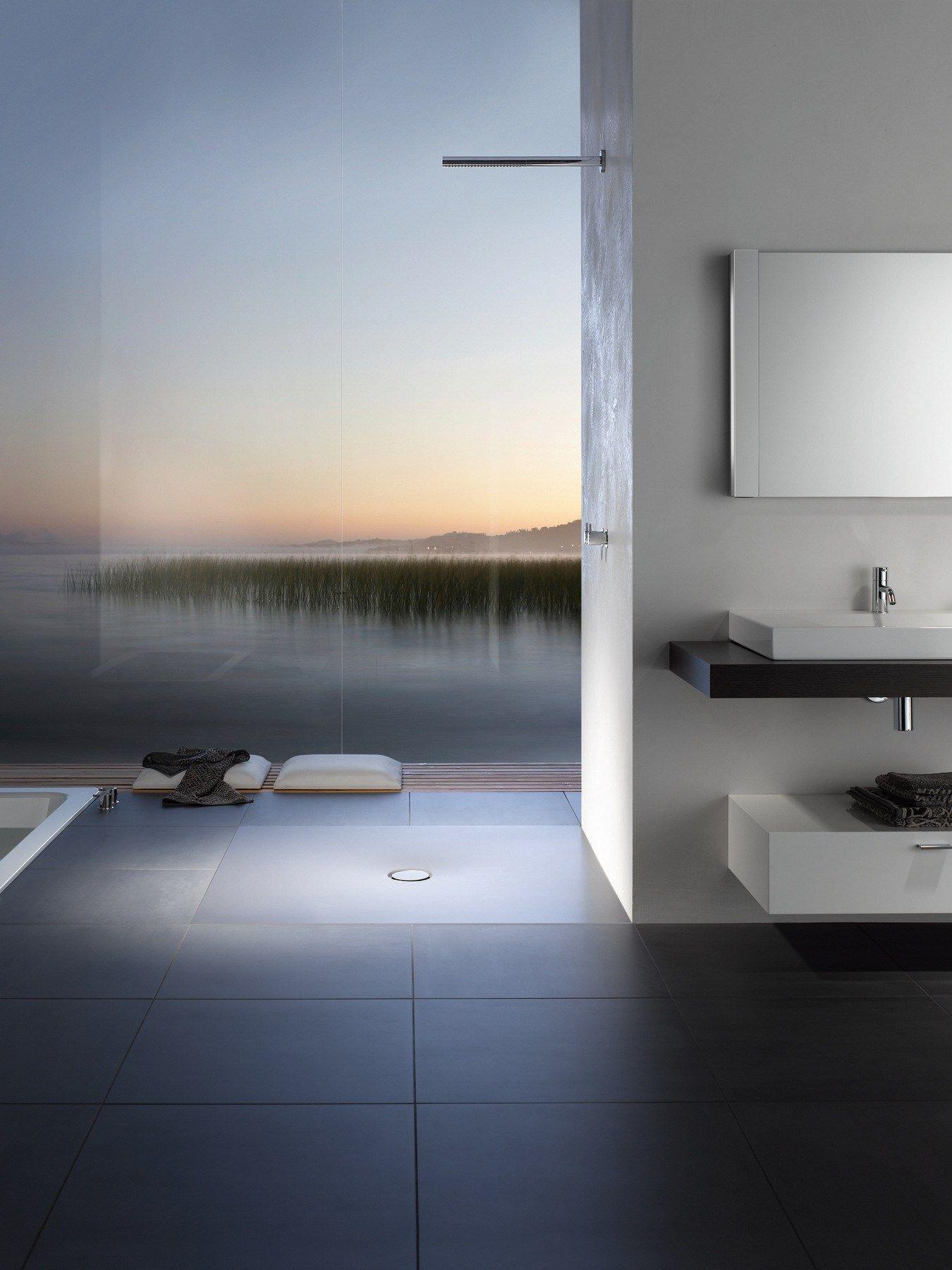Flush fitting square enamelled steel shower tray