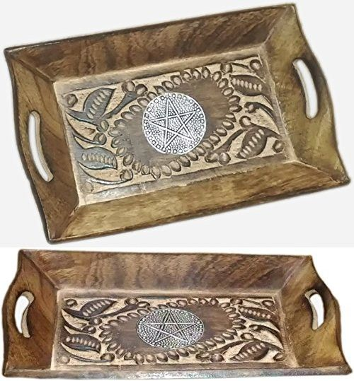 MAITHIL ARTMAITHIL ART Rustic Decorative Wooden Trays With Handles