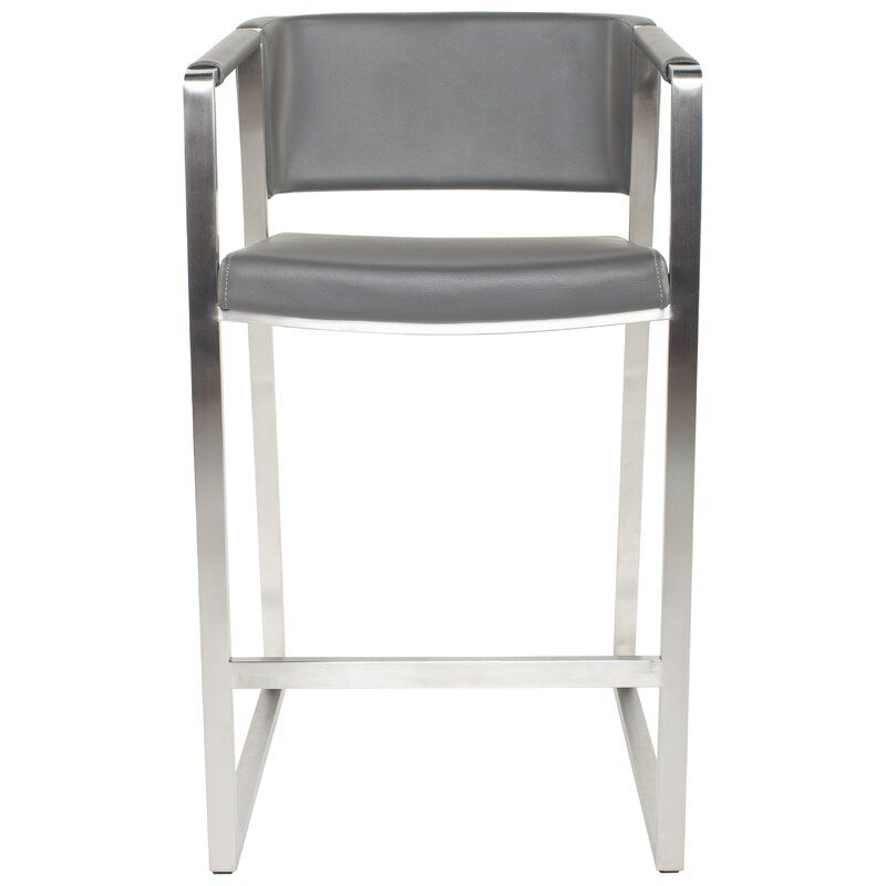 Padmini Brushed Stainless Steel Faux Leather Stationary 26 Counter Stool Brushed Stainless Steel Counter Stools Stainless Steel Frame