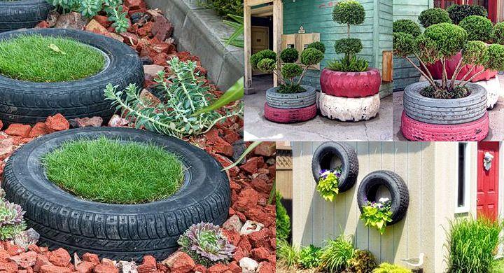 Reciclar ruedas de coche como macetas jardines y for Jardines reciclados