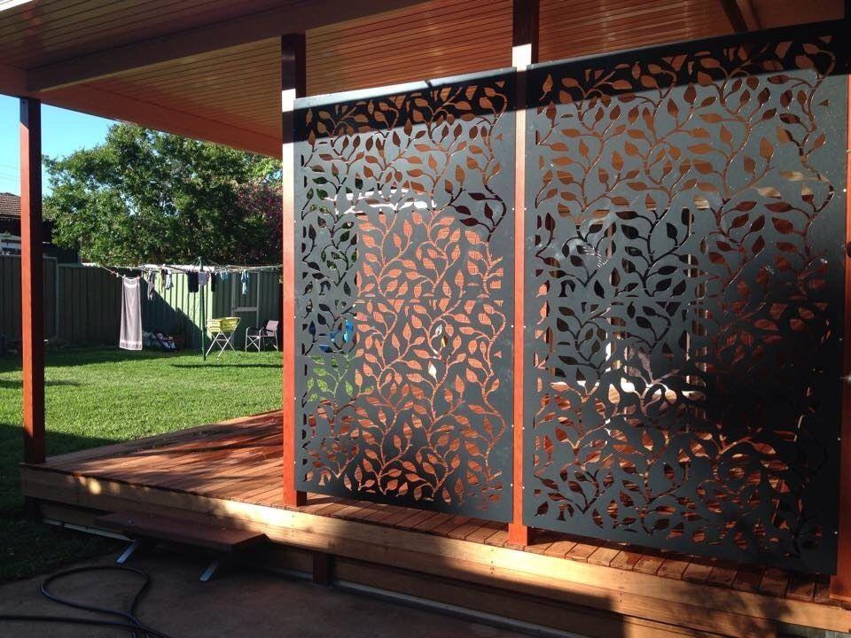 Decorative privacy metal screen corten steel powder coated for Decorative patio privacy screens