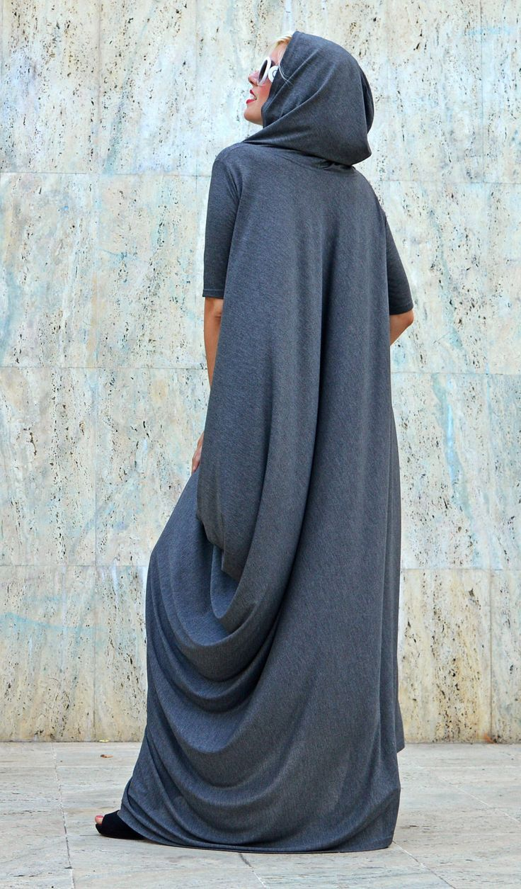 Just launched extravagant grey hooded dress loose grey hoodie