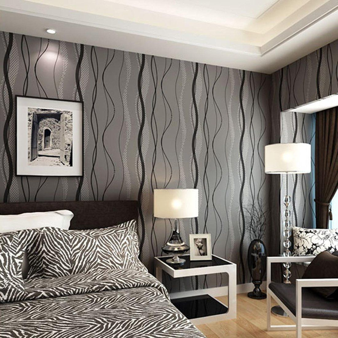 Warmiehomy 33ft Mondern Wavy Stripe Flocking Non Woven 3d Wallpaper Backdrop Decking Black Grey Amazon Co Uk Diy Bedroom Tv Wall Tv Wall Decor Tv In Bedroom