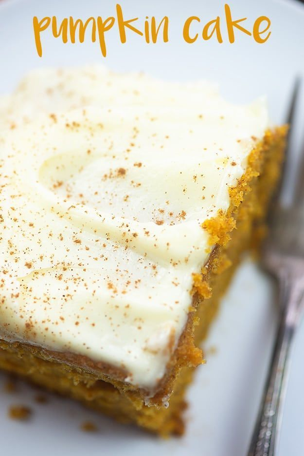 Moist pumpkin cake with cream cheese frosting! This is a simple fall classic that we make every year. #pumpkincake #pumpkin #cake #creamcheeserecipes