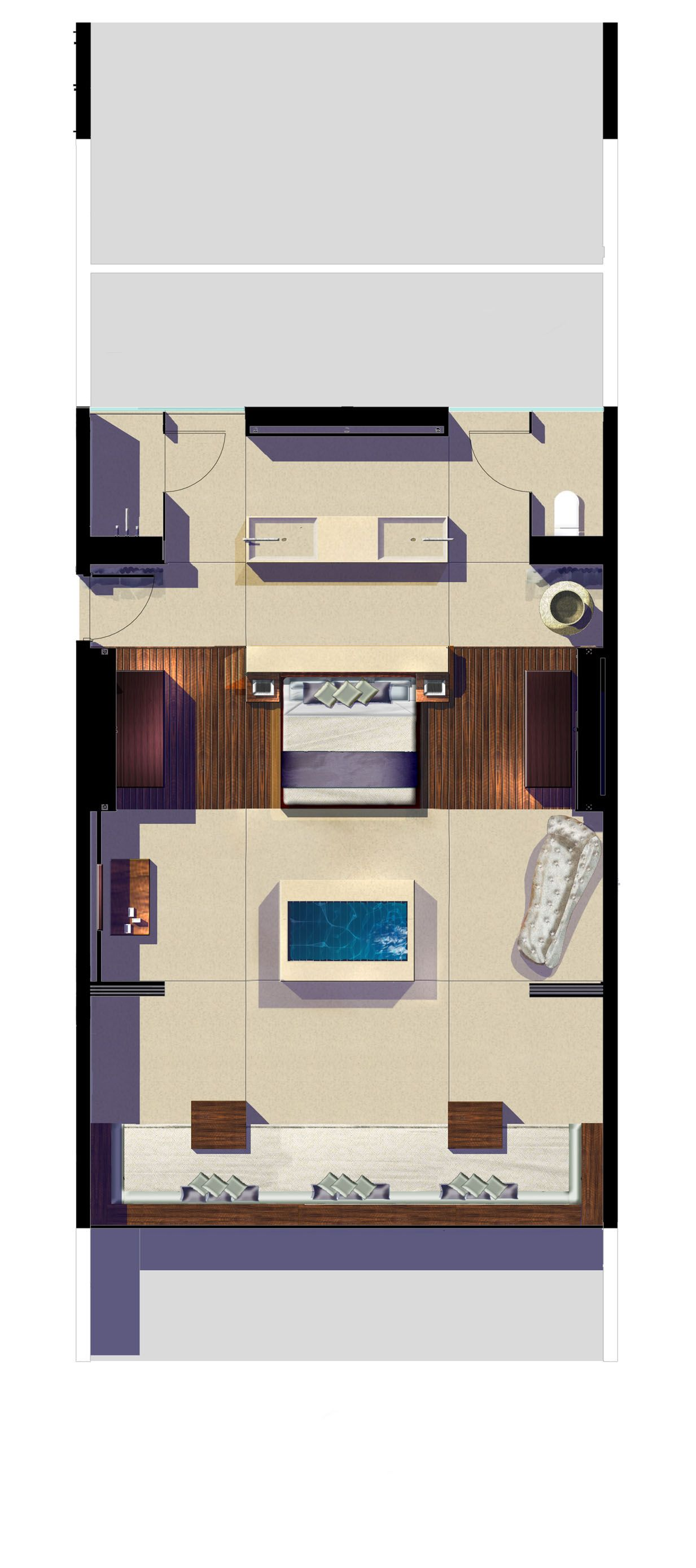 Hotel room furniture layout - Hilton Hotel Fiji Suite Top Floor Concept Plan