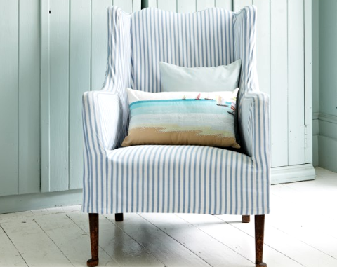 Slipcovered Chair With Ticking Stripes: Http://www.completely Coastal.