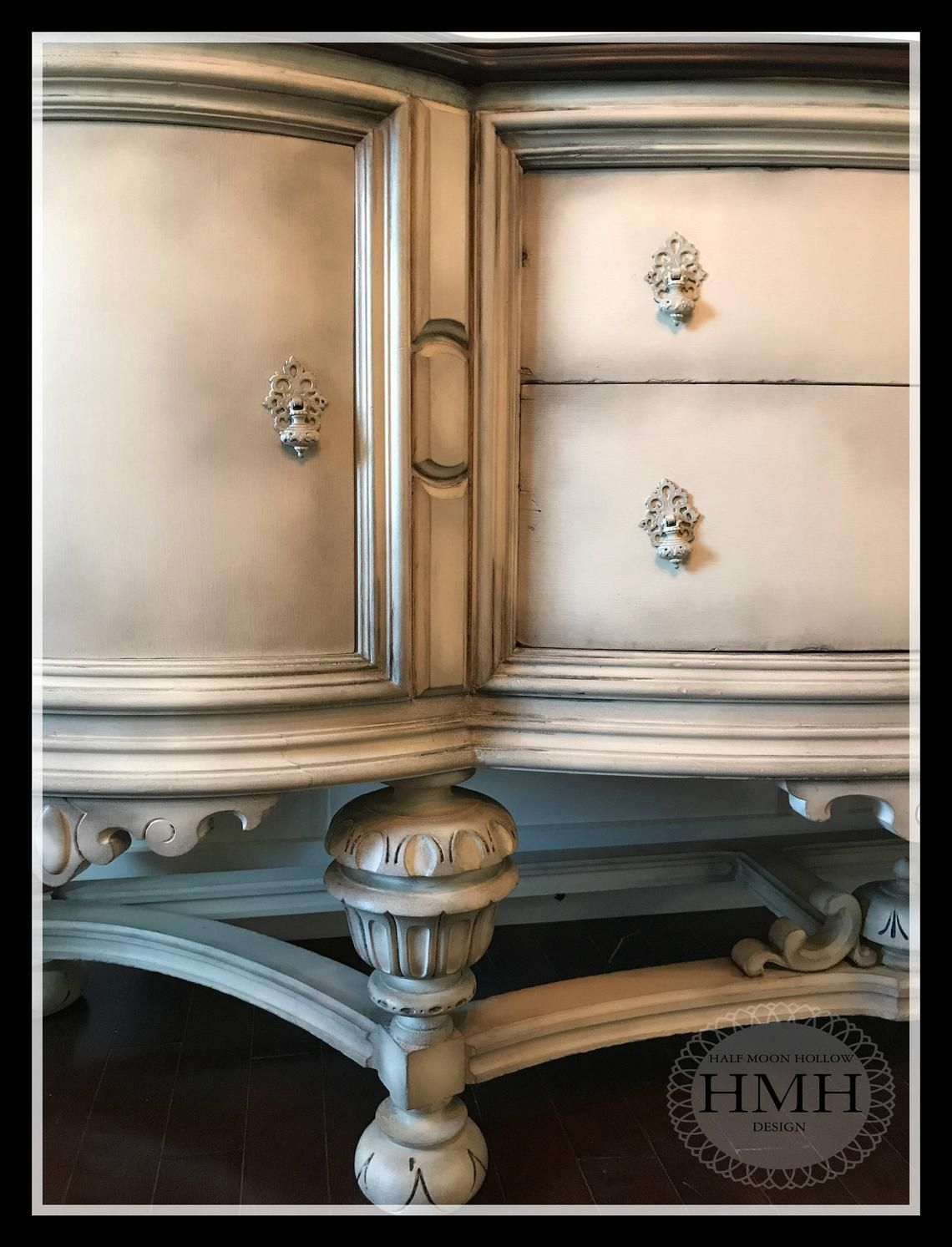 Sold Antique French Country Buffet Jacobean Hand Painted