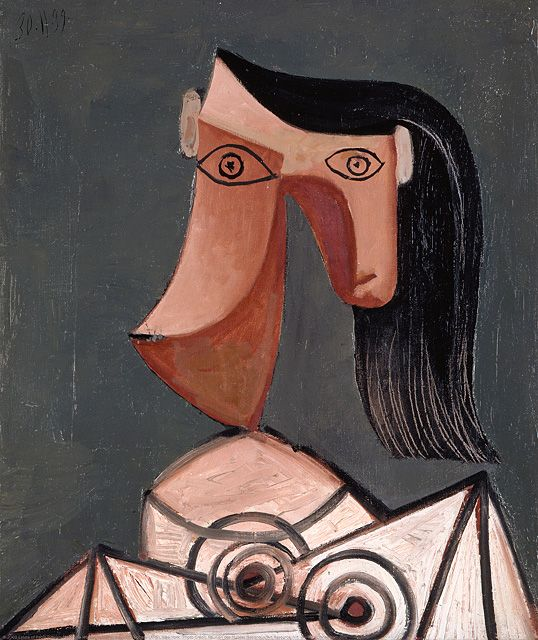 Picasso: Head of a Woman, 1939. oil on canvas, 65 x 54 cm, Musée Picasso, Paris.