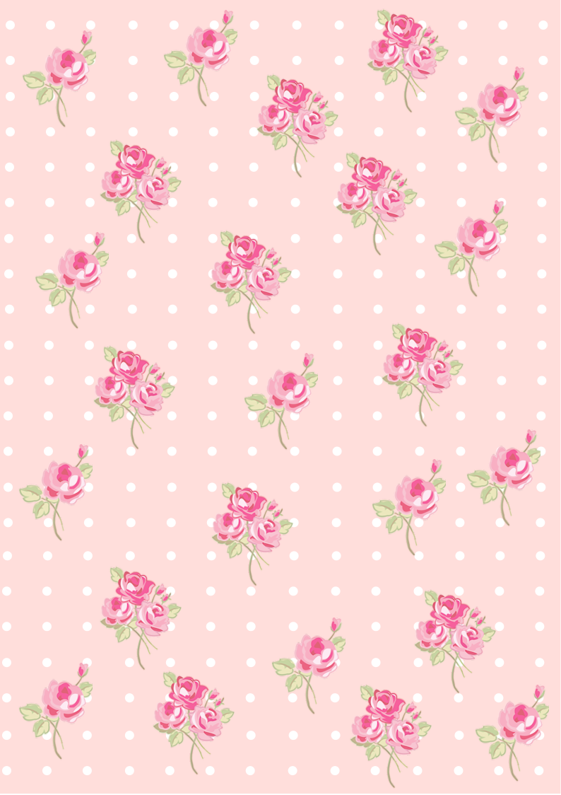 Floral Shabby Chic Pattern Paper Pink Ffdedb Background Wallpaper