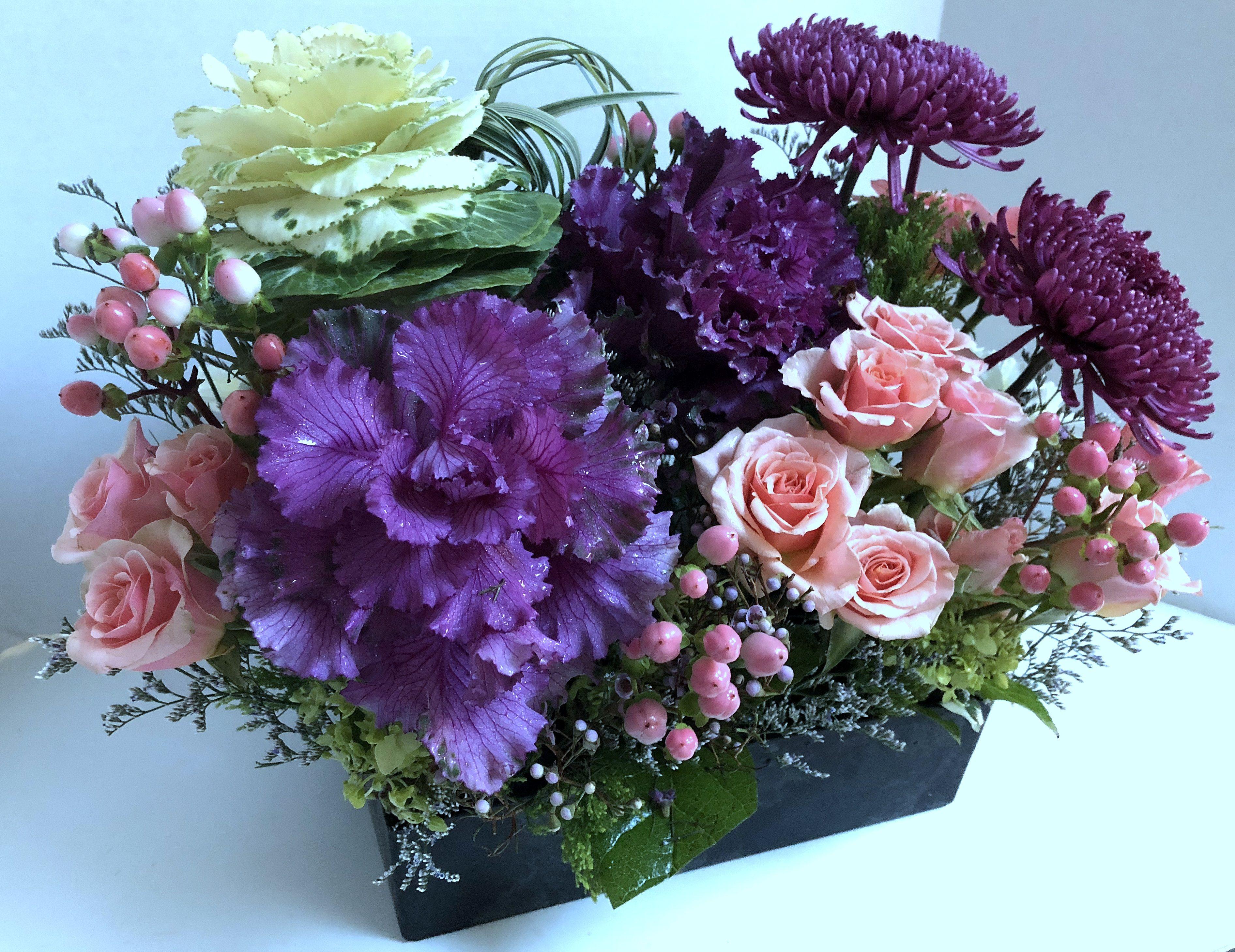 winter kale w purples pinks floral designs floral floral rh pinterest com