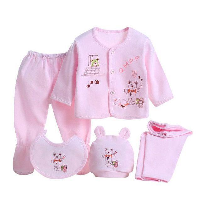 5pcs//set Newborn Baby Boy Girl Cotton Warm Outfits Infant Clothes Suits 0-3M UK