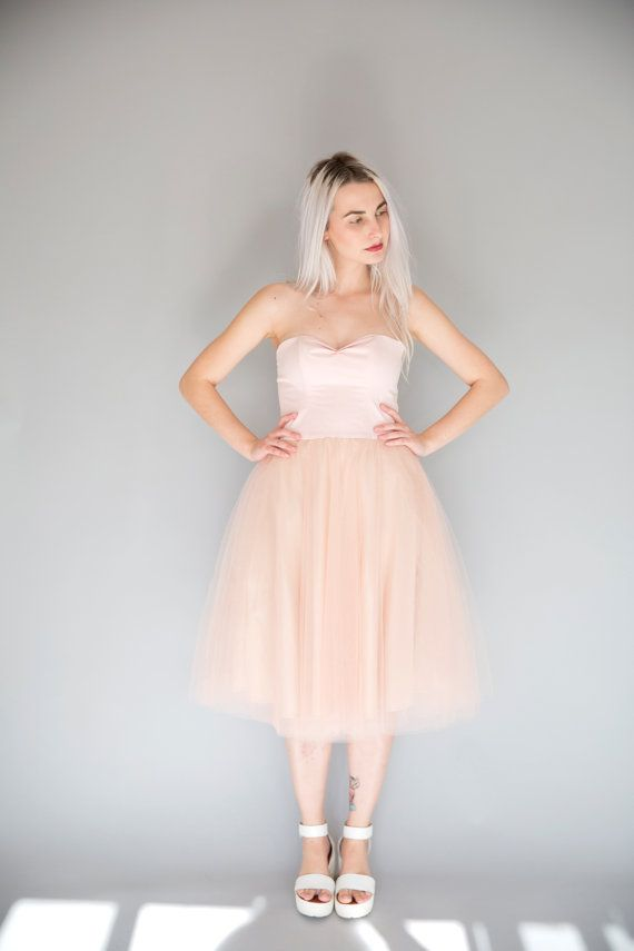 Powder pink tulle dress / sweetheart strapless tea length party ...