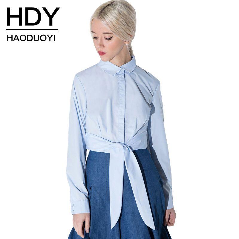HDY Haoduoyi Women 2016 Fashion Blouse Women Long Sleeve Turn-down Collar Shirts Women Casual Shirt Sash Bowknot Ladies Top