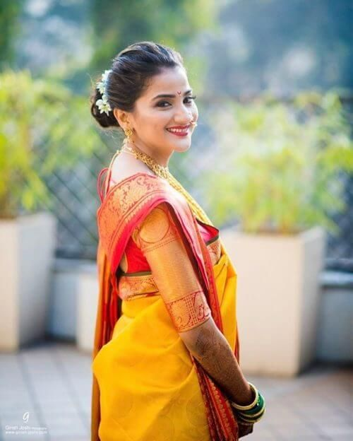 Maharashtrian Bridal Bun Hairstyle Indian Bridal