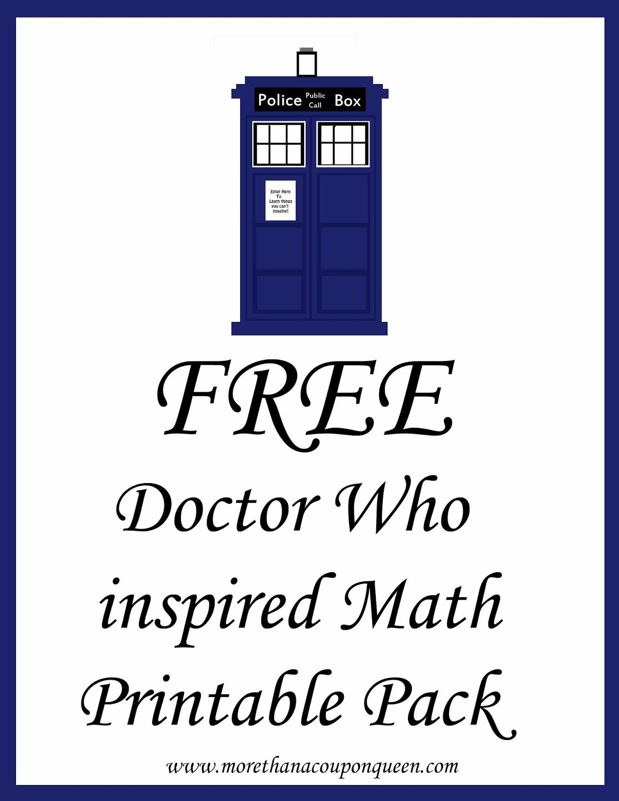 Free Doctor Who Inspired Math Printable Pack Great For