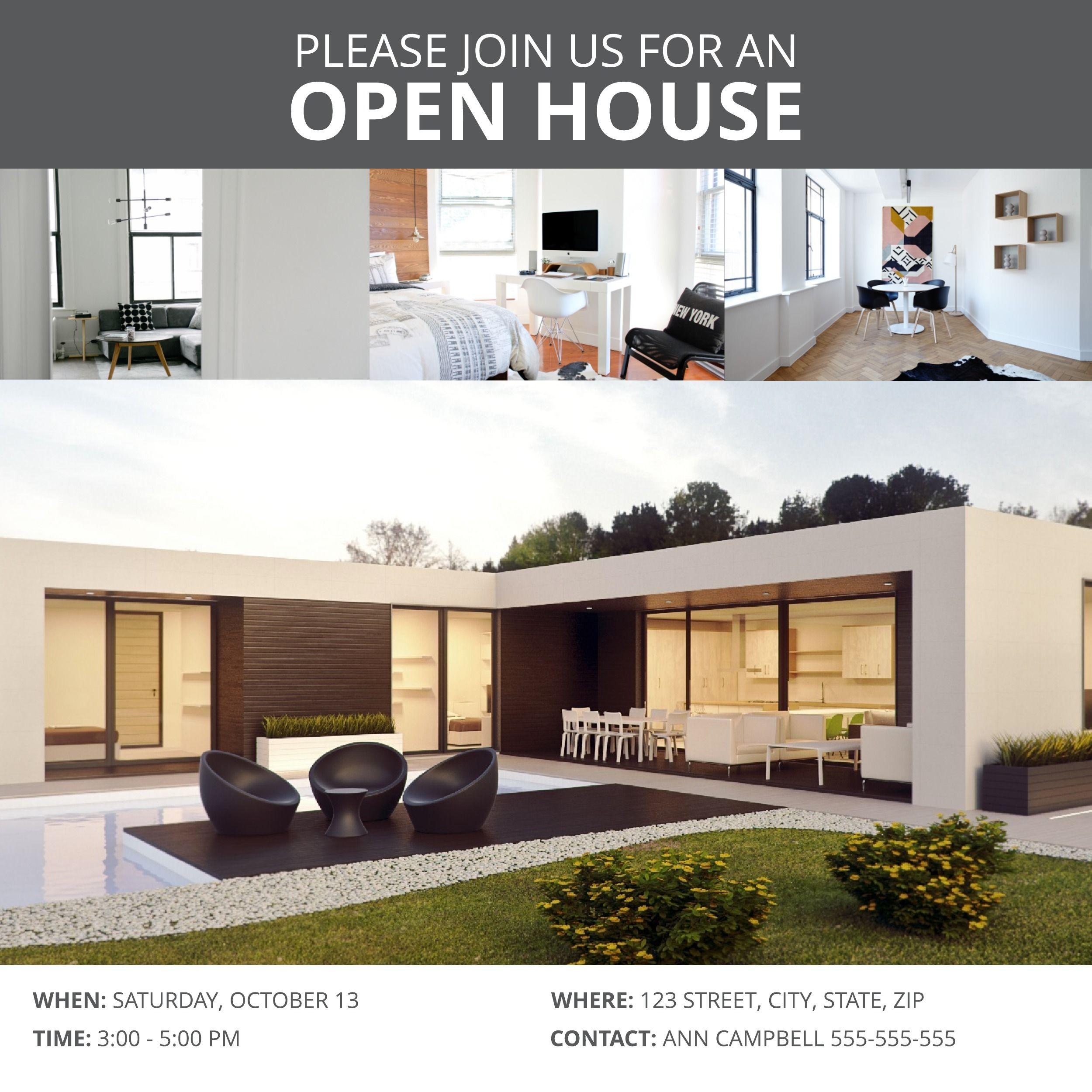 Modern Open House Instagram Post Template House Open House