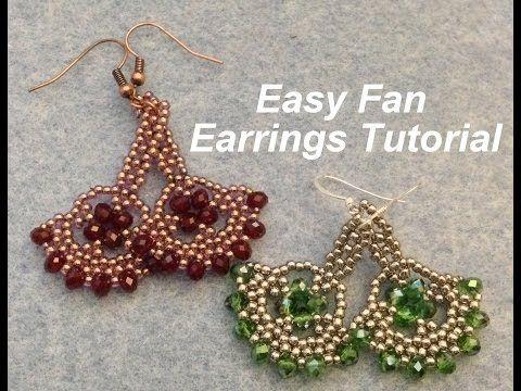 Easy Fan Earrings Intermediate Tutorial Youtube Beaded