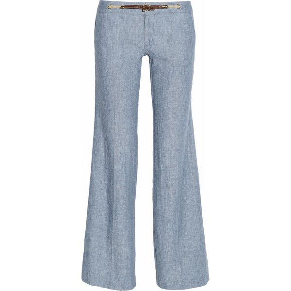 MICHAEL Michael Kors Linen and cotton-blend chambray pants ($110) ❤ liked on Polyvore