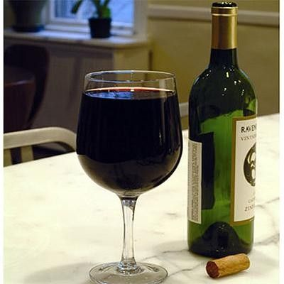 Extra large wine glass holds a whole bottle of wine! Made of glass. Perfect for the wine lovers in your life. Holds 25 oz.