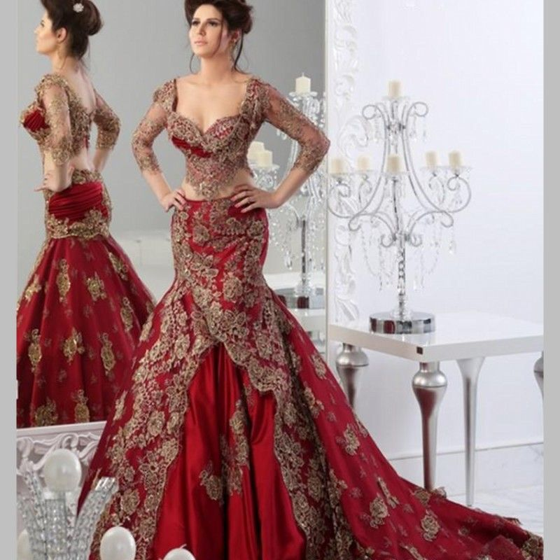 Luxury Two Pieces Red Wedding Dresses with Sheer Gold Beaded ...