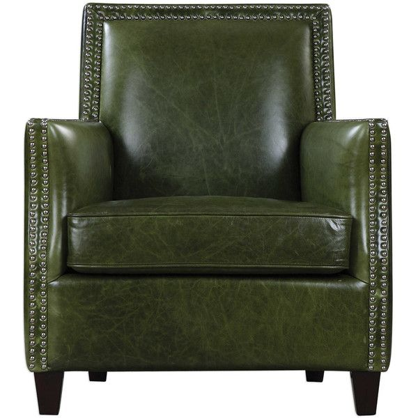 Green Leather Nail Studded Chair ($1,495) ❤ Liked On Polyvore Featuring  Home, Furniture, Chairs, Accent Chairs, Tall Back Chairs, High Back Chair,  ...