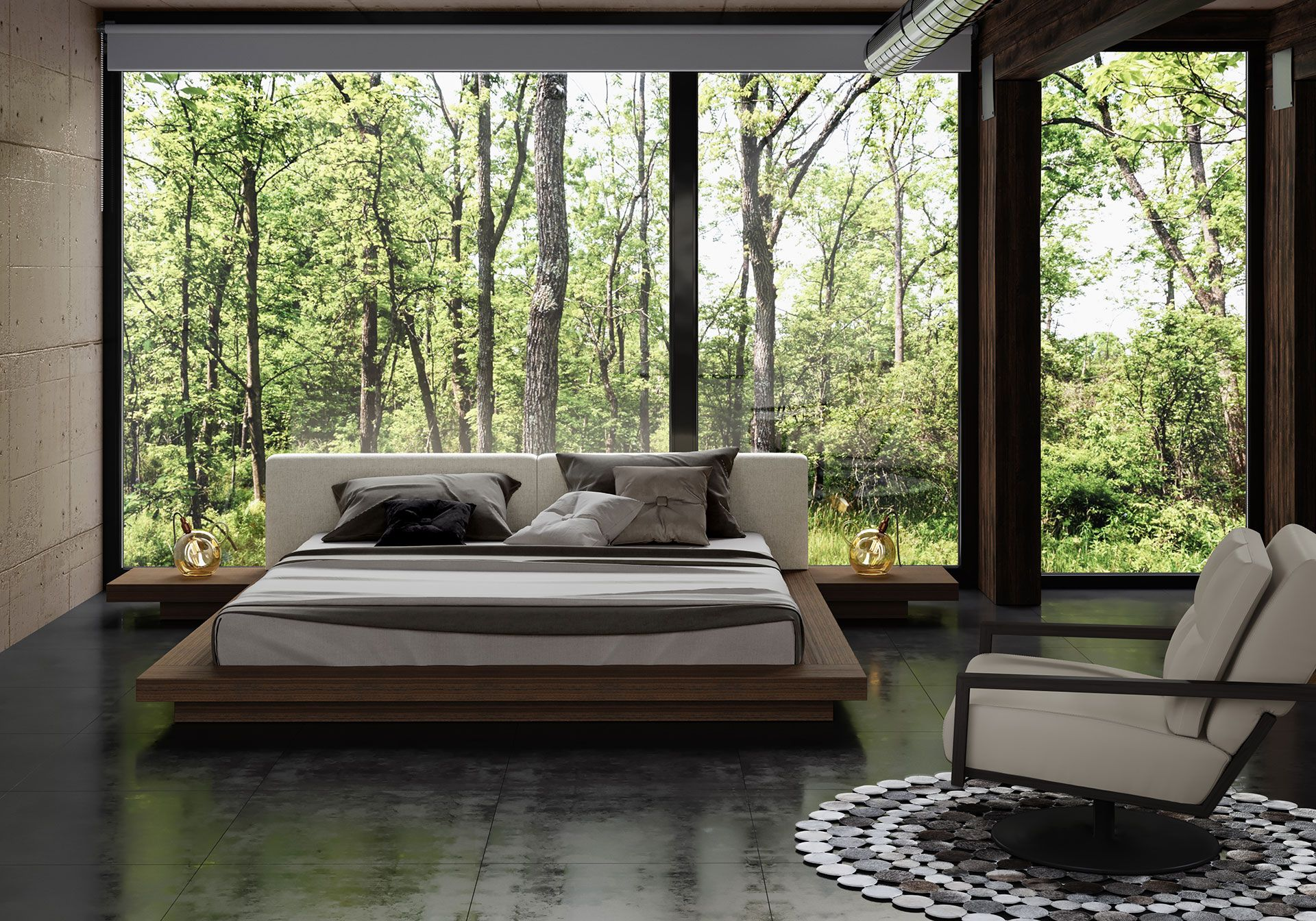 The Japanese Inspired Worth Platform Bed Features A Low Profile Hardwood Frame With Matching Symmet Upholstered Platform Bed Cal King Bedding Bed Linens Luxury