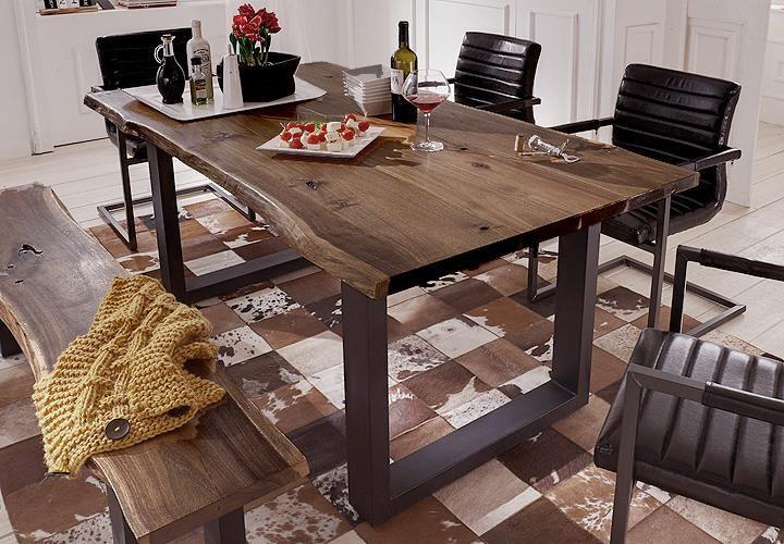 Esstisch Queens Akazie Massiv Natur Geolt Metall Schwarz Holztisch Selber Bauen Tisch Esszimmer Esstisch Holz