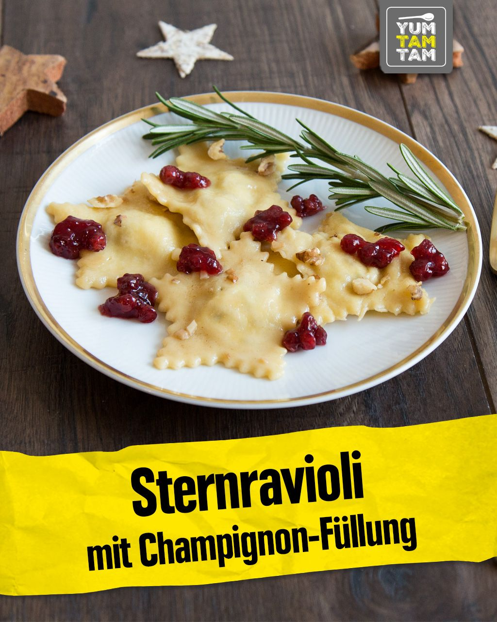 Sternravioli mit Champignon-Füllung