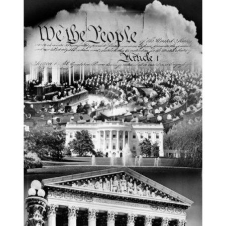 Members of US congress with the White House and US Supreme Court superimposed on the US Constitution Washington DC USA Canvas Art - (24 x 36)