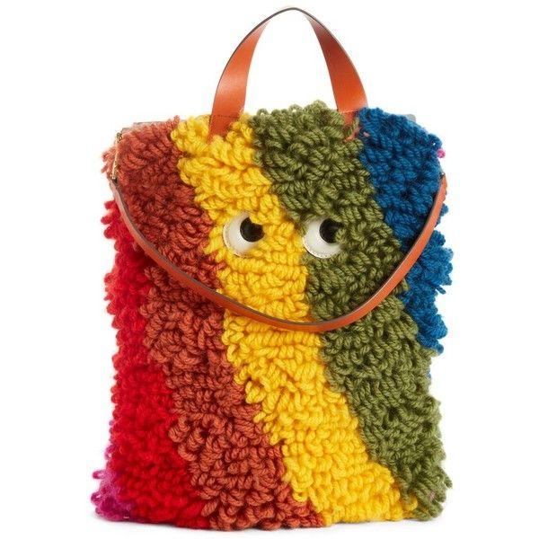 Womens Shopper Shag Eyes Wool & Leather Tote Bag Anya Hindmarch Swc4NJBLy
