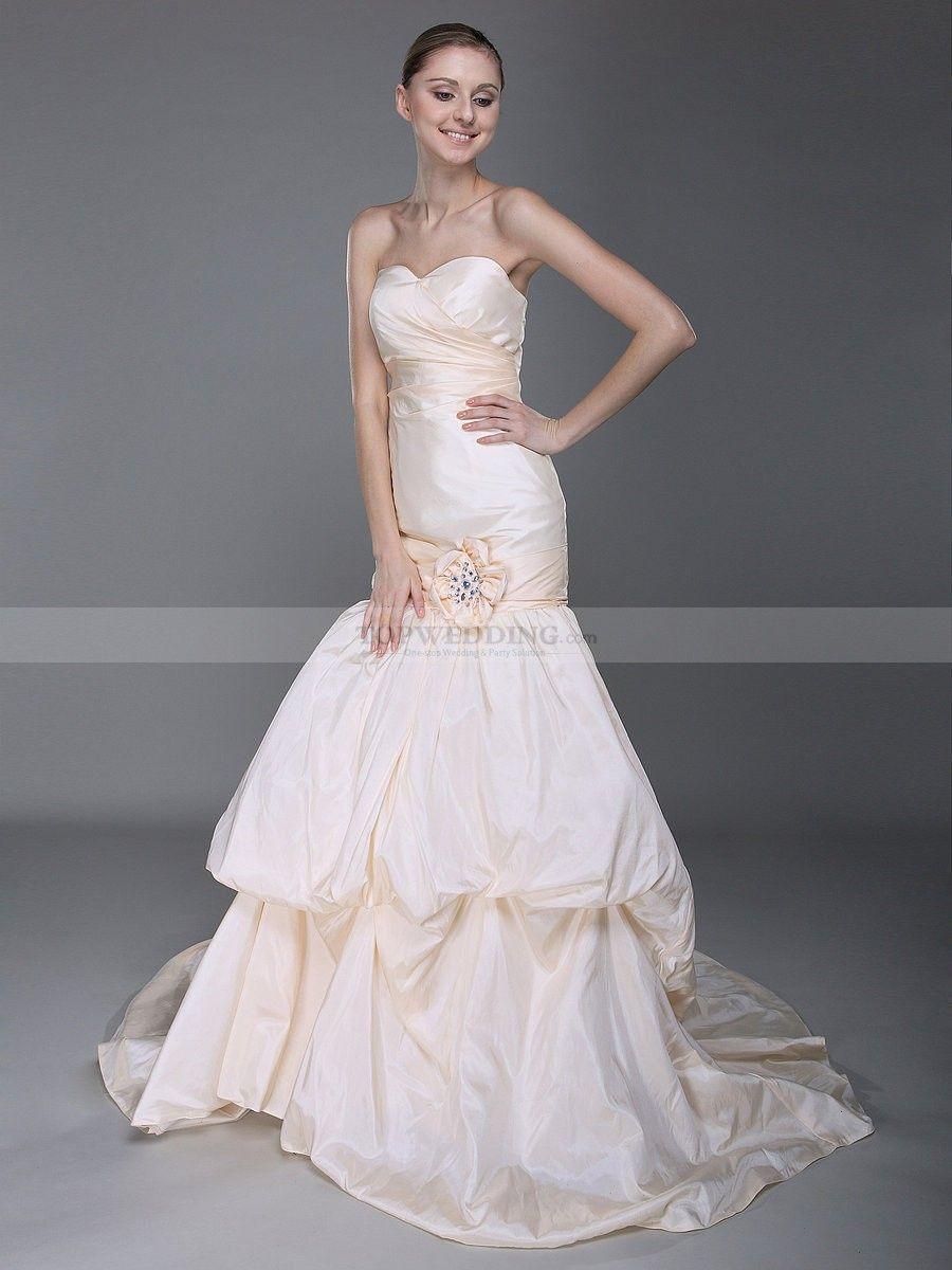 Strapless Taffeta Mermaid Wedding Dress With Bubble Skirt 0113938 Beaded Wedding Gowns Online Wedding Dress Mermaid Wedding Dress [ 1200 x 900 Pixel ]