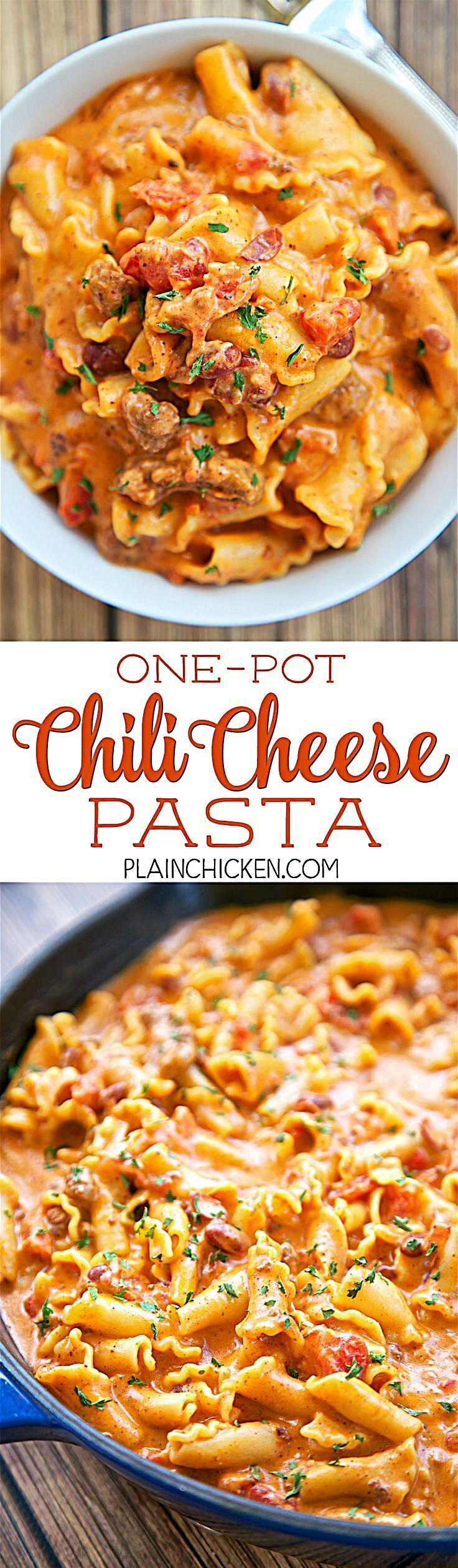 - One Pot Chili Cheese Pasta - everything cooks in the same skillet, even the pasta!! Canned chili,...