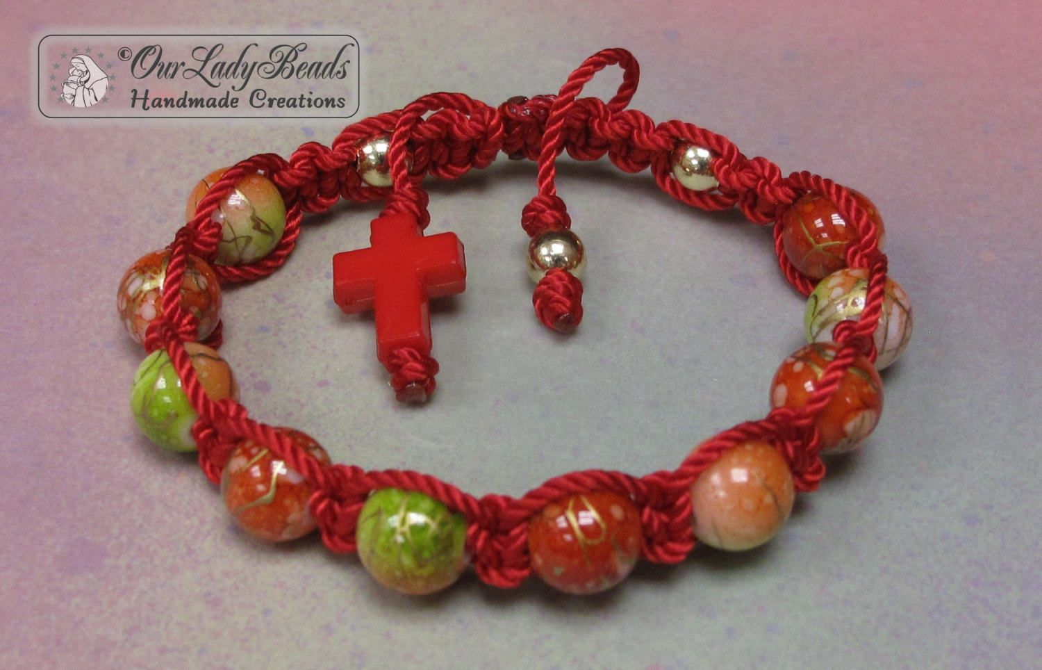 Macrame Knotted Religious Bracelet Gift Confirmation First Communion Prayer