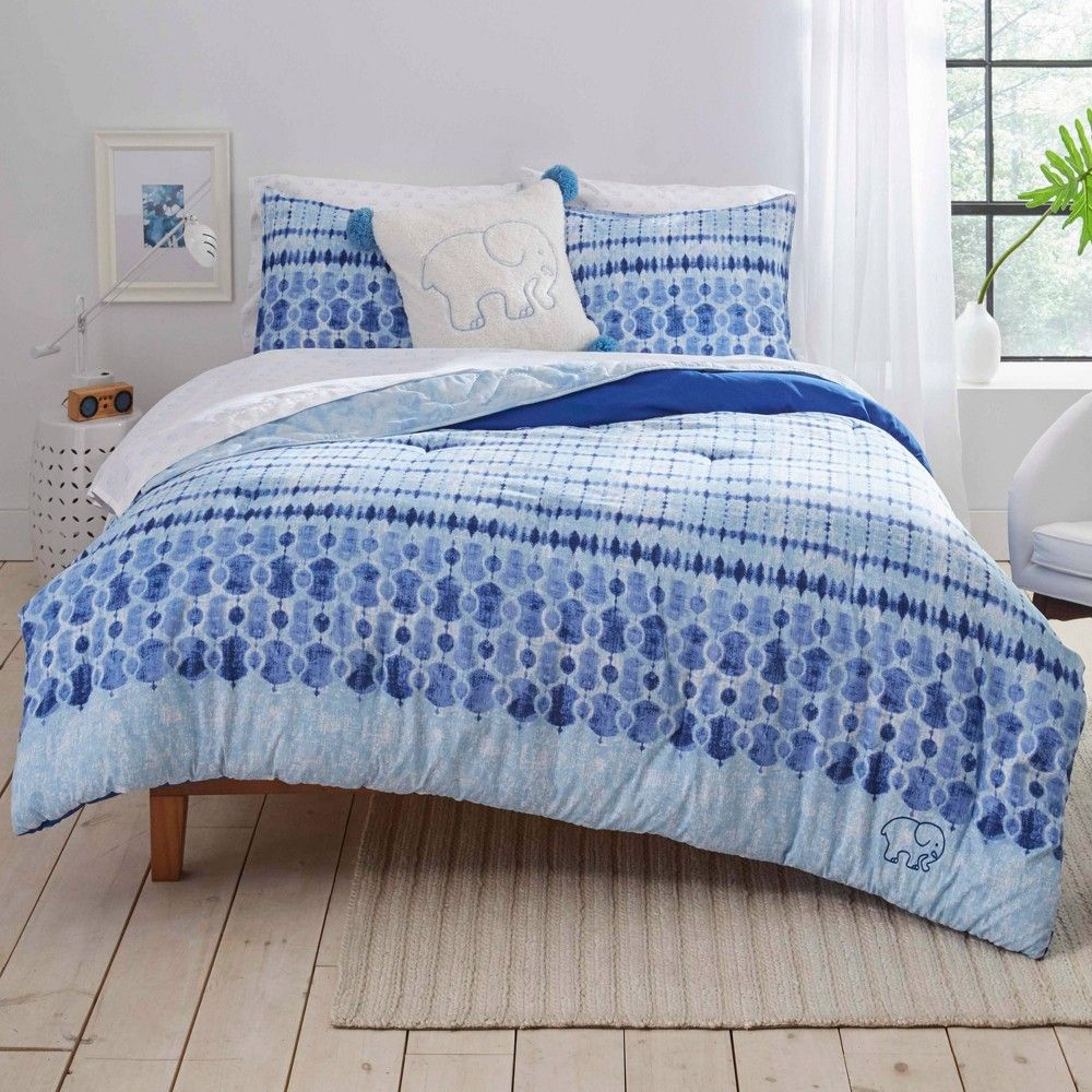 Ivory Ella Full Queen Sadie Duvet Cover Sham Set Blue Navy